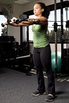 Chelsea Cooper performing standing cable chest press. - Copyright – Stock Photo / Register Mark
