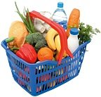 Grocery store basket full of healthy food.