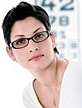Woman with eye glasses and eye chart. - Copyright – Stock Photo / Register Mark