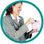 Woman laughs as she places a coin in a piggy bank. - Copyright – Stock Photo / Register Mark