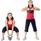 Personal trainer Chelsea Cooper domonstrates The Swing with a Kettlebell. - Copyright – Stock Photo / Register Mark