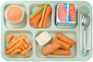Cafeteria tray full of food. - Copyright – Stock Photo / Register Mark