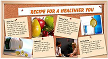 Bulletine board with healthy tips pinned to it. - Copyright – Stock Photo / Register Mark