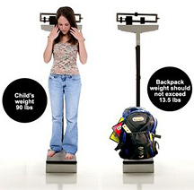 Young girl and a heavy backpack standing on respective doctor's scales.