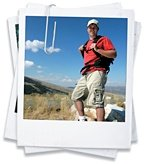Polaroid of a man hiking. - Copyright – Stock Photo / Register Mark