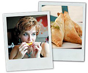 Polaroids of a woman eating dinner and of the dinner itself. - Copyright – Stock Photo / Register Mark