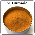 A tin bowl full of turmeric. - Copyright – Stock Photo / Register Mark