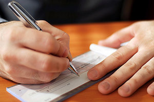 writing check - Copyright – Stock Photo / Register Mark